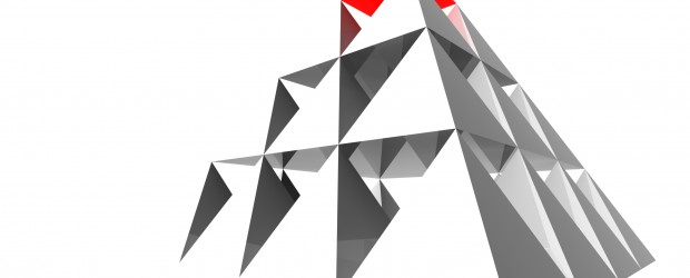 abstract pyramid with red top