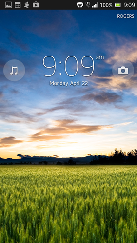 Sony Xperia ZL lock screen