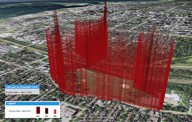 Provided - Data visualization of carbon dioxide emissions along the Don Valley Parkway in Toronto