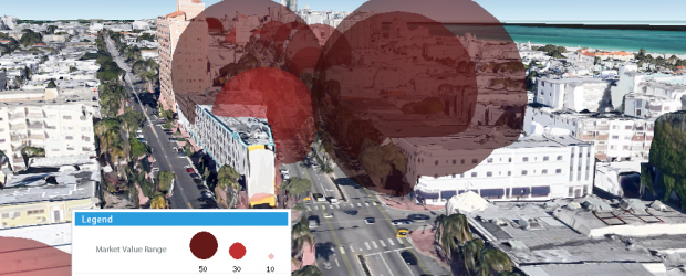 Provided - Property values in Miami Beach, U.S. using the 3D buildings layer feature
