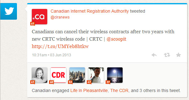 "One of CIRA's ""moments"" on Klout shows engagement around a tweet."