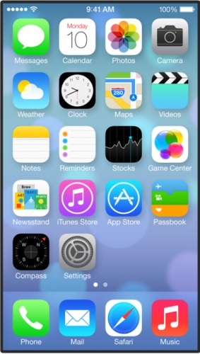 New screens Apple iOS new icons.