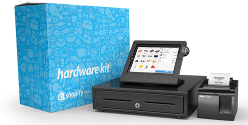 Shopify's new hardware includes a credit card reader, cash drawer, iPad stand, and receipt printer.