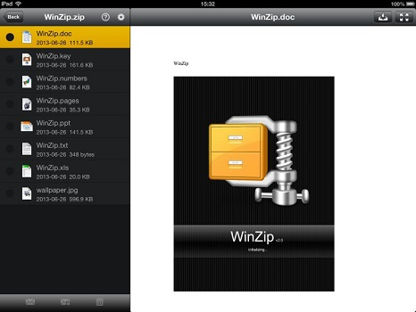 WinZip for iPad.