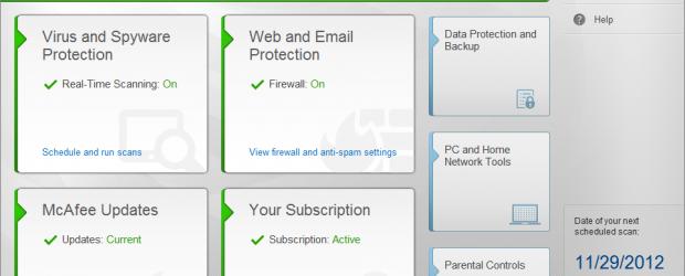 Screenshot of McAfee's Anti-Virus Plus 2014.