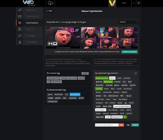 Viso Catalyst helps content creators pick the best tags for their videos.
