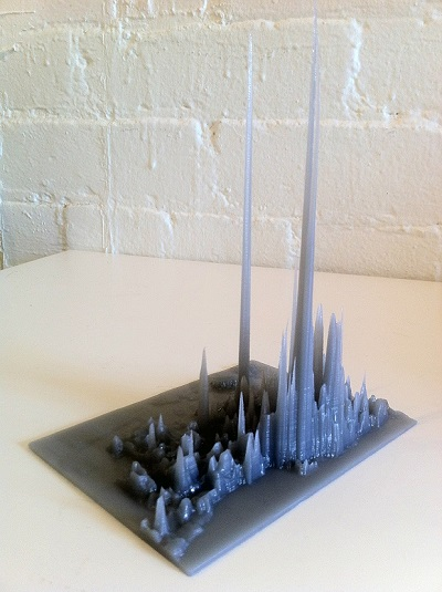 (Image: DataAppeal). A 3D print of a data visualization showing the number of transit riders in Toronto.
