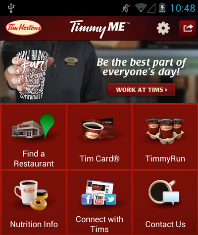 (Image: Google Play, Tim Hortons). Screenshot of the TimmyMe app for Android.