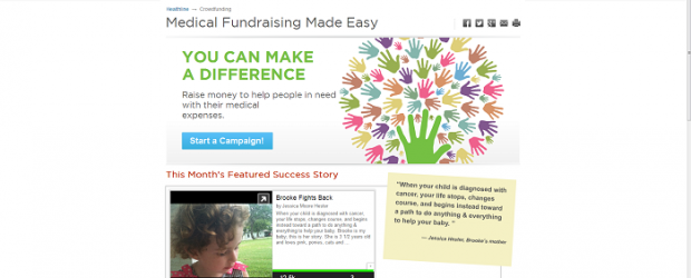 (Image: FundRazr). A screenshot of crowdfunding campaigns embedded directly on Healthline, through Powered by FundRazr.