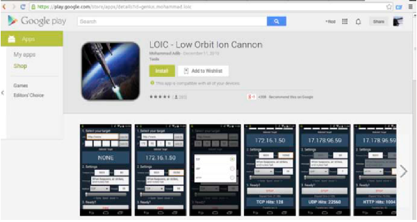 (Image: Prolexic). Low Orbit Ion Cannon, an Android app.