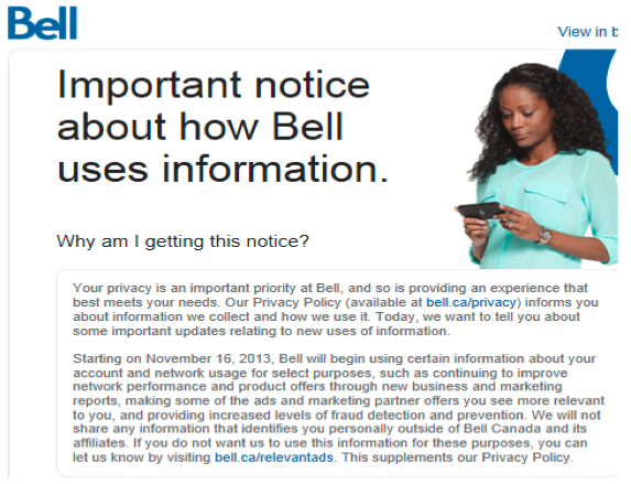Bell Canada notified its customers about its Relevant Ads program last November.