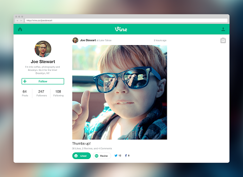 (Image: Vine). Example of a Vine web profile.