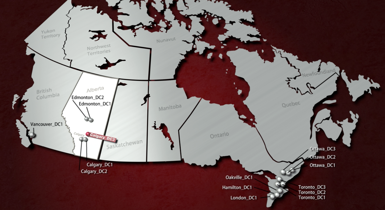 A map shows the locations of Rogers Data Centre facilities across Canada.