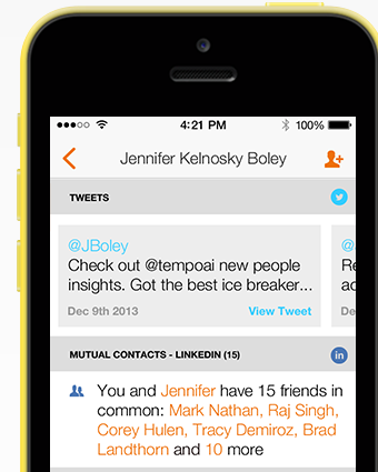 Tempo scans social media for relevant details about someone you're meeting with.