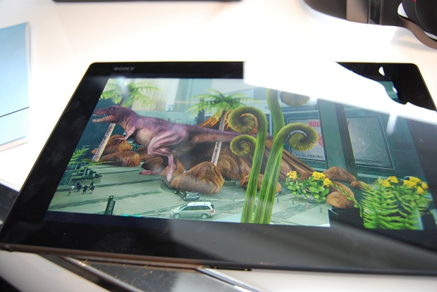 The Sony Xperia Z2 tablet, showing a photo with augmented reality layered on top.