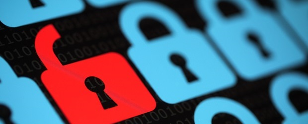 Image of red lock next to blue locks
