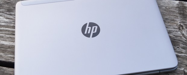 HP Ultrabook on picnic table
