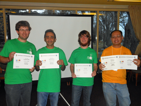 The University of Lethbridge team, from left to right: Darcy Best, Farshad Barahimi, Chris Martin with coach Howard Cheng.