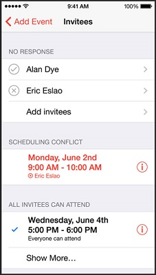 Ability to add people to Calendar invites, while checking their availability. (Image: Apple).