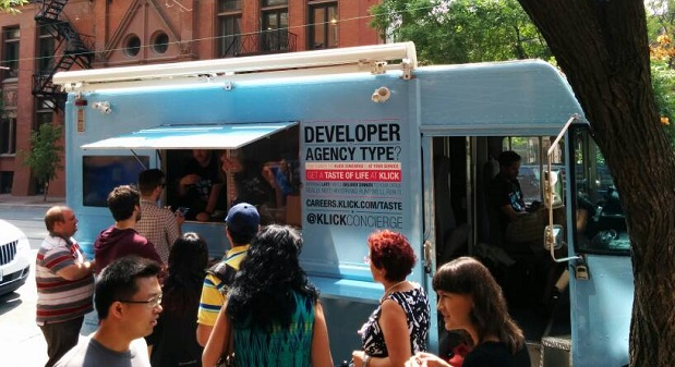 Potential job seekers lining up at Klick's ice cream truck. (Image: Klick).