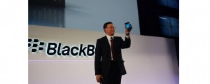 BlackBerry CEO John Chen shows off the Passport.