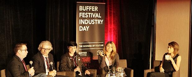 Left to right: Bob Jennings, David Jones, Matt Martin, Nadine Sykora, and panel moderator Shira Lazar.  (Image: Buffer Festival Industry Day).
