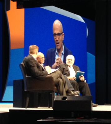 "Microsoft CEO Satya Nadella was interviewed during Gartner's ""Mastermind"" session."
