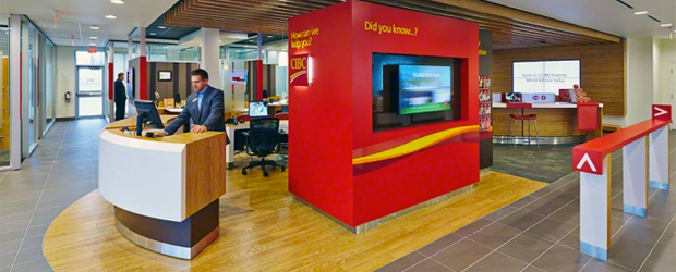 Interior of a CIBC branch.