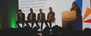 Left to right: Sam Sebastian of Google Canada, Satish Kanwar of Shopify, Ben Burmaster of Snuggle Bugz, James Connell of Roots Canada. Retail Spark, Nov. 3, 2014.