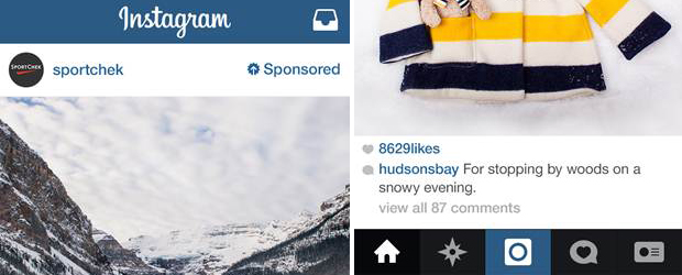 Examples of Instagram ads in Canada.