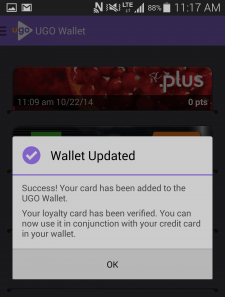 UGO Wallet - card added