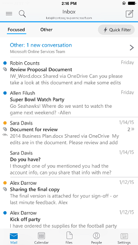 Outlook app for iOS and Android