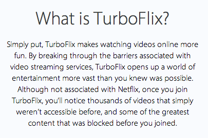 An example of the marketing language on Turboflix.com.
