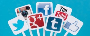 Picture of social media icons put together.
