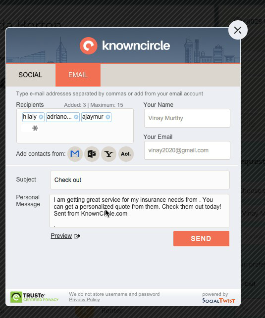 KnownCircle email function