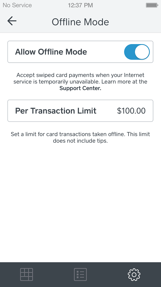 Square users can put a cap on the size of transactions  they'll accept in offline mode.