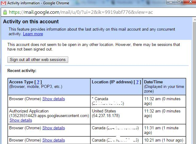 Account Activity information for Gmail