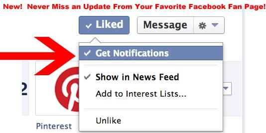 Get notification, Facebook pages
