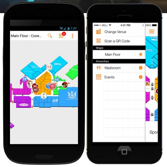 MappedIn's consumer app for a mall shopper.
