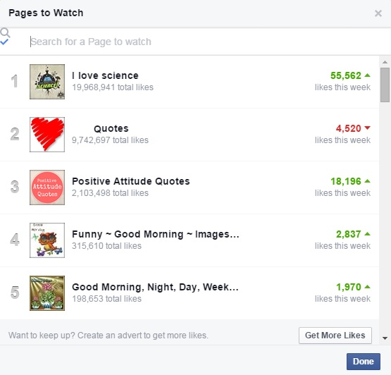 Pages to watch, Facebook business pages