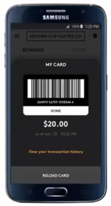 To pay with Second Cup's app, the user simply displays a bar code at check out.