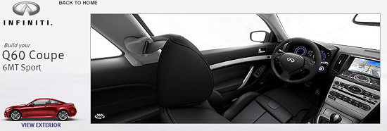 Infiniti's website offers interactive views of vehicle interiors and exteriors.