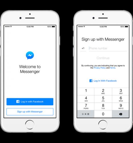 Facbook-Messenger account creation