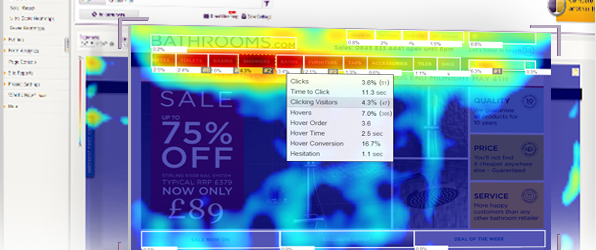 Sick website: Screenshot of the analytics heat maps ClickTale generates to diagnose problems with website design or functionality.
