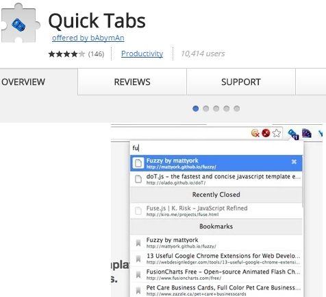 Quick tabs extension for Chrome