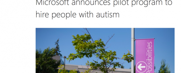 Screenshot of Microsoft's April blog post announcing a pilot project to hire autistic workers.