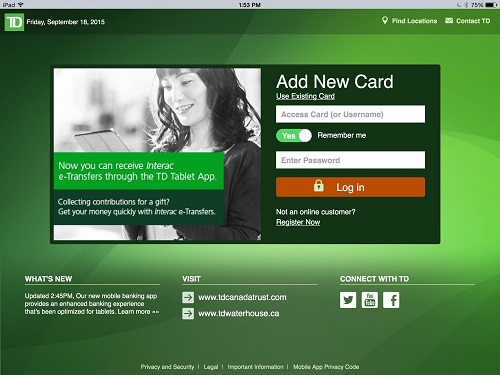 The current TD Bank mobile app.
