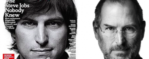 Steve Jobs on the cover of Rolling Stone and in the famous picture from his biography by Walter Isaacson.