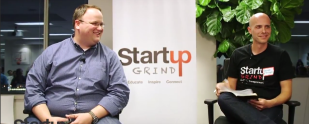 Sequoia Capital's Matt Miller, left, and Startup Grind founder Derek Andersen, banter with Toronto Startup Grinders.