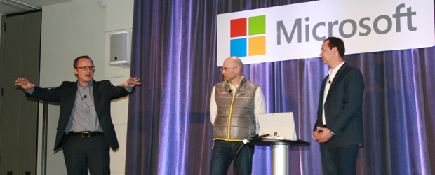 From left: Christian Pederson, Thomas Mayer, and Microsoft's vice president of marketing and operations, Jason Hermitage, at a company event on Feb. 11, 2016.